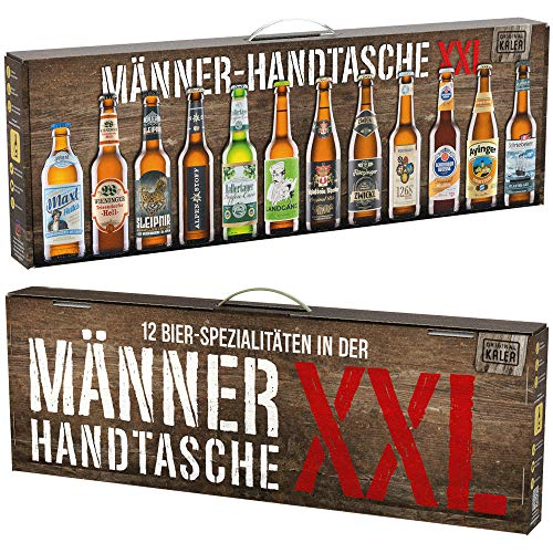 Beer Tasting Box, Geschenk-Idee, Papa, Männer, Bier-Spezialitäten von Privatbrauereien, mit Henkel, Geburtstag (Männerhandtasche XXL 12x0,33l)