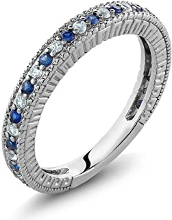 Gem Stone King Sterling Silver Ladies Anniversary Wedding Band Ring Blue Simulated Sapphire and White Created Sapphire 0.48 Carat (Available 5,6,7,8,9)