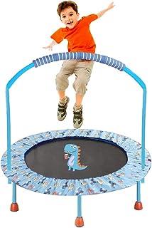 LBLA ø38 Pulgadas Mini Trampolín para Niños, Pasamanos Ajustable y Cubierta Colchada de Seguridad Mini Plegable Bungee Rebounder Interior/Exterior Trampolines con Manija
