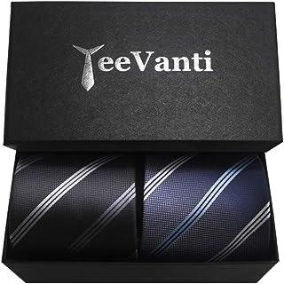 YeeVanti ネクタイ 2本セット ビジネス 父の日 高級 おしゃれ メンズ ネクタイ プレゼント ストライプ 洗える