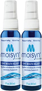MOISYN Advanced Dry Mouth Relief Oral Spray (2 oz, 2 Pack) Moisturize & Soothe Dry, Irritated Oral Surfaces with Nontoxic, Naturally Derived Ingredients - Alcohol-Free Formula With Xylitol (2 Pack)