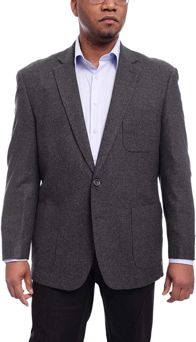 Apollo King Charcoal Gray Heather Flannel Wool Blazer Sportcoat Patch Pockets