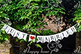 """Musuntas Girlande Vintage / Rustikal """"Just Married', - als Deko zur Hochzeit mit schwarzem Schriftzug"""