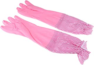 Baosity Waterproof Household Cleaning Rubber Gloves Lace Long Cuff Kitchen Gloves