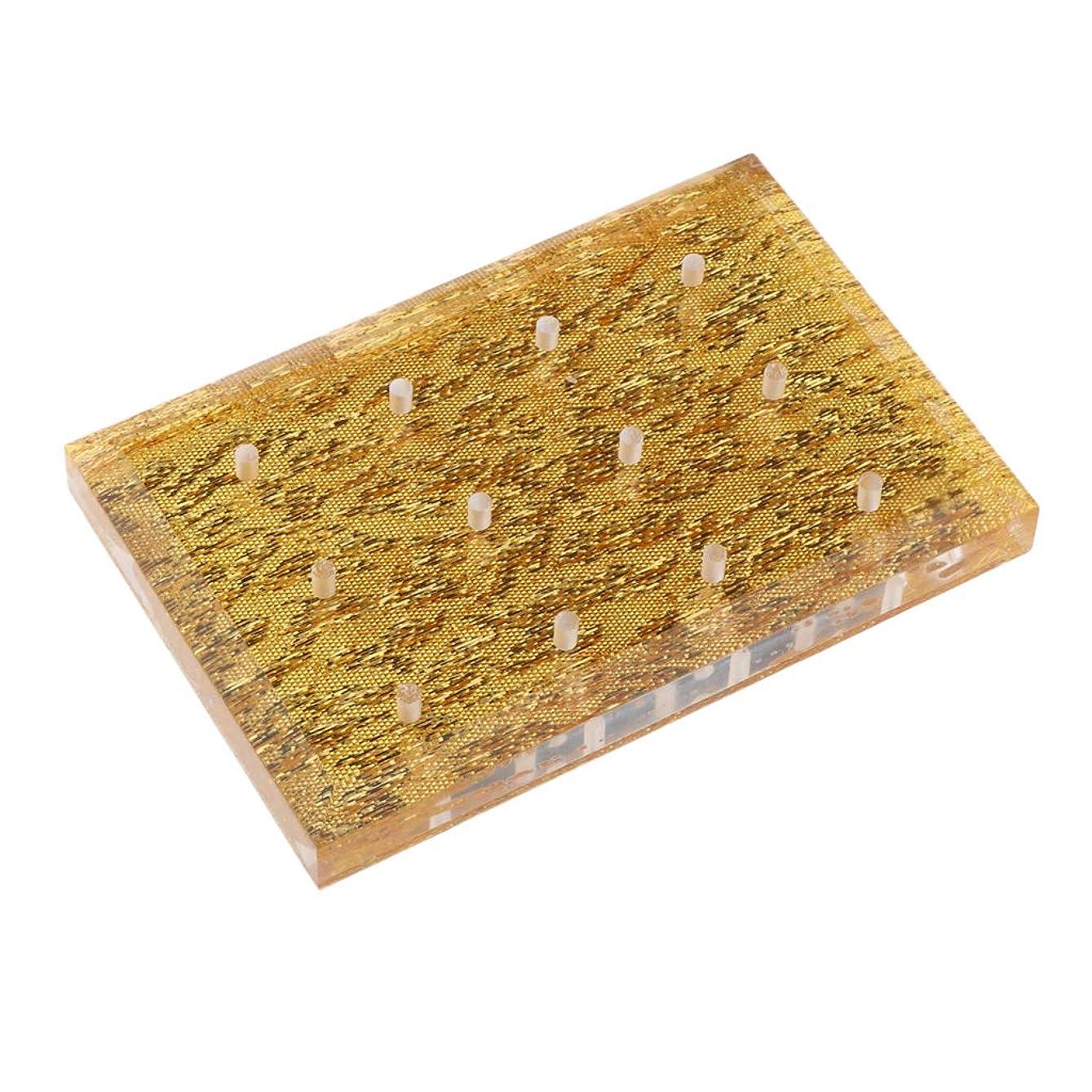 無人閉じる模索P Prettyia ネイルドリルビットホルダー 収納オーガナイザー スタンド ネイルサロン 2色選べ - ゴールド