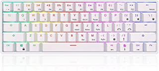 RK61 ゲーミングキーボード キーボード ワイヤレス,61 キー RGB 発光LEDバックライト付きUSB/Bluetooth 両対応 多機能 メカニカルキーボード 1450mAh バッテリー Gateron赤軸 ホワイト