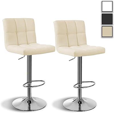 HW Arvioo Barhocker 2er Set, höhenverstellbare Barstühle, Barstuhl aus Kunstleder, 360° Drehstuhl, Küchenstühle mit Rückenlehne & Fußstütze,