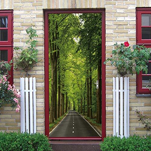 TMANQ 3D Door Sticker For Interior Door 86X200Cm Green Tree Country Road Landscape Creativity Removable Murals Wallpaper For Bedroom Living Room Gift Art Pvc Waterproof Decal Door Home Decoration