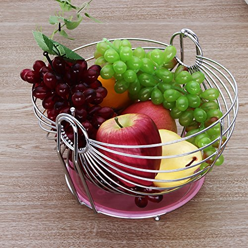 WENZHE Fruit Rack Corbeille À Fruits Plateau Secouer Le Type Créatif Acier Inoxydable, 18 * 27cm Panier à Fruits (Couleur : With water tray)