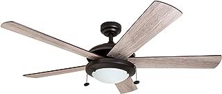 "Prominence Home 80099-01 Bolivar LED Ceiling Fan, Modern Farmhouse, 52"" Dual-Finish Blades, Espresso"