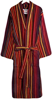 Bown of London Mens Regent Stripe Dressing Gown - Orange/Purple/Red