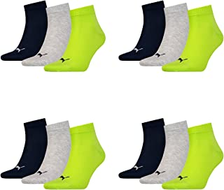 12 pair Puma Sneaker Quarter Socks Unisex Mens & Ladies, Socken & Strümpfe:43-46, Farben:064 - lime punch