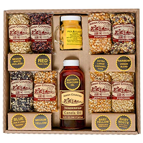 Amish Country Popcorn | 8 - 4 oz Bags | Stovetop Popping Sampler Pack with Canola Oil - 16 oz and BallPark ButterSalt - 4.5 oz | Old Fashioned with Recipe Guide (Stovetop Sampler - 8 - 4 oz Bags)