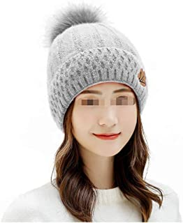 Ladies' Autumn and Winter Hats, Fur Ball, Wool hat, Warm Cap, Outdoor Knit Cap WZXSMDY (Color : Gray, Size : One Size)