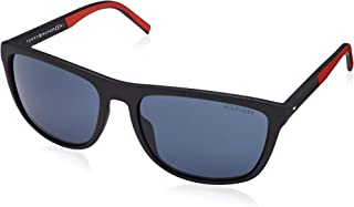 Tommy Hilfiger Men's TH1602GS Rectangular Sunglasses, Black & Red, 58 mm