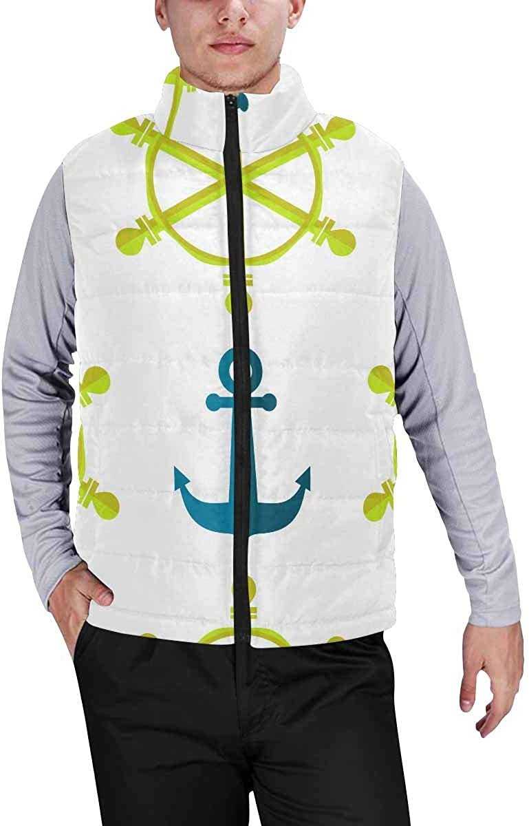 InterestPrint Men's Outdoor Casual Stand Collar Sleeveless Jacket Maple Leaves