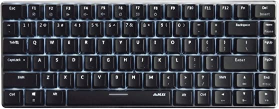 Ajazz AK33 Geek Mechanical Keyboard, 82 Keys Layout, Blue Switches, White LED Backlit, Aluminum Portable Wired Gaming Keyboard, Pluggable Cable, for Games Work and Daily Use, Black