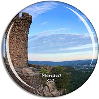 Meriden Castle Craig Connecticut USA Magnet Travel Souvenir 3D Crystal Glass Collection Gift Refrigerator Sticker