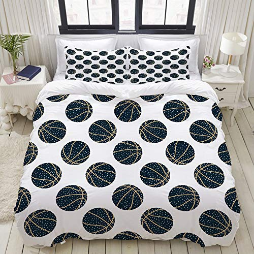 MOKALE Bedding Duvet Cover Set with Zipper Closure - abstract arty basketball - Brushed Microfibre Duvet Cover with Pillowcases - Single(135 * 200cm)