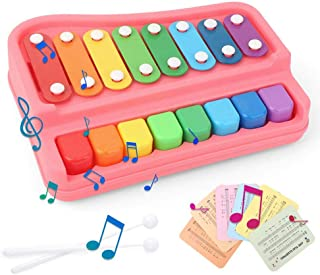 OOOUSE 2 in 1 Piano Xylophone for Kids,8 Key Scales Musical Instruments Toyset Toy with 6 Music Scores, Educational Musical Instruments Toys for 3 Aged and Up Toddlers Kids,No Batteries Needed