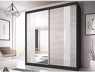 Armoire de Chambre avec 2 Ports coulissantes et miroir   Penderie (tringle) avec étagères (LxHxP): 183x218x61 BEN 32 (Noir)