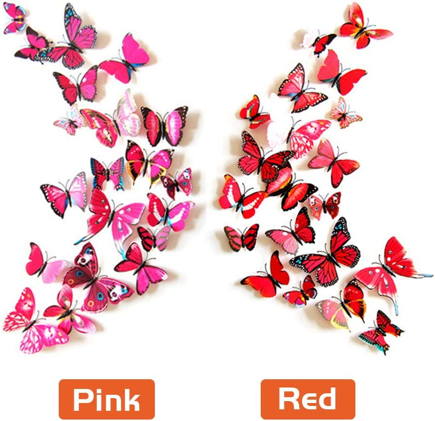72pcs Multicoloured Set 1 Tauras 72pcs 3D Butterfly Wall Stickers,Magnetic Wall Butterflies Stickers for Girls Bedroom Party and Weddings Decoration Removable PVC Butterfly Decals for Home DIY