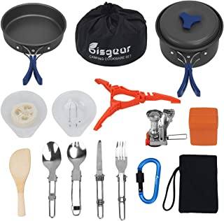 Bisgear 17Pcs Camping Cookware Stove Carabiner Canister Stand Tripod Folding Spork Set Outdoor Camping Hiking Backpacking Non-Stick Cooking Picnic Knife Spoon