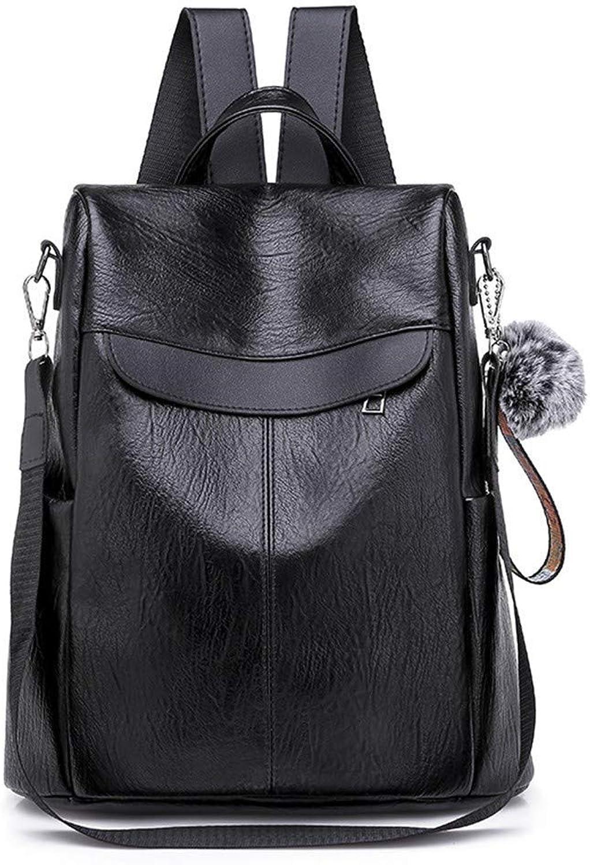 DYR Backpack Female Shoulder Bag Outdoor Travel Bag Casual Handbag Student Bag Soft Pu Diagonal Package