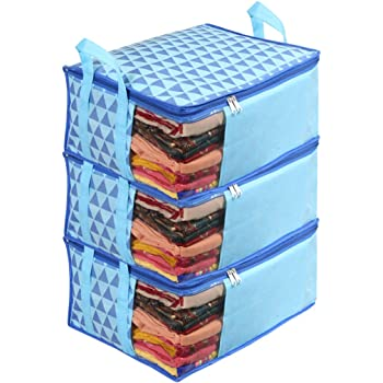 PrettyKrafts Non-Woven Saree Cover Storage Bags for Clothes (Trio Blue) -Pack of 3