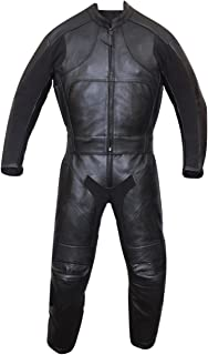 Motorbike Motorcycle New Black Racing Cowhide Leather Suit CE Approved Armors (X-Large)