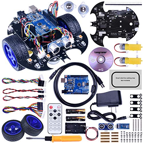 Longruner Robot Car Robot Kit with R3 Line Tracking Module Ultrasonic Sensor DIY Starter Kit Robotics Educational Car Kits Toys for Kids with Tutorial Compatible with ArduinoIDE