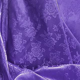 Purple Floral Satin Jacquard Brocade Fabric 60