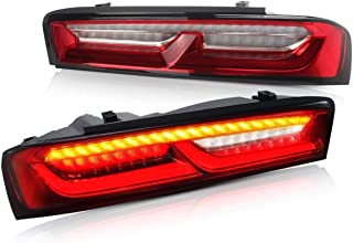 YUANZHENG Full LED Sequential Tail Lights for [Chevrolet Chevy Camaro Coupe 6th gen 2016 2017 2018] with DRL Bars YAB-CMR-0278H, Red Clear