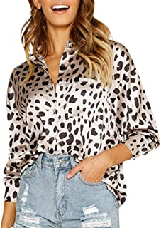 Qootent Spring Women Leopard V-Neck Blouse Fashion Pocket Button Up Shirt Top