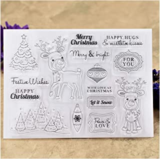 Kwan Crafts Merry Christmas Deer Tree Peace Love Clear Stamps for Card Making Decoration and DIY Scrapbooking