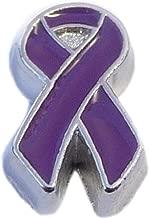 Purple Ribbon Floating Locket Charm