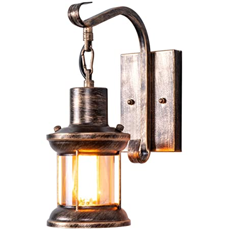 Rustic Light Fixtures Oil Rubbed Bronze Finish Indoor Vintage Wall Light Wall Sconce Industrial Lamp Fixture Glass Shade Farmhouse Metal Sconces Wall Lights For Bedroom Living Room Cafe 1 Pack Amazon Com