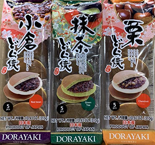 Japanese Dorayaki Bean Cake Total 15 pcs (32.8oz) Product of JAPAN By KC Commerce (3 Flavors Variety)