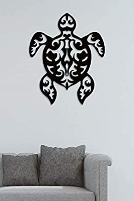 Lasaani Tortoise stickable ACP Plaque Painted Cutout Home Decor Wall Art for Living Room |Wall Piece for Decoration | (Glossy Black)