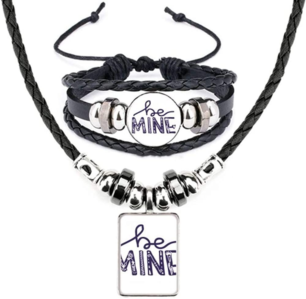 Ranking TOP19 Be Mine Cute 2021 model Quote Handwrite Jewelry S Leather Bracelet Necklace