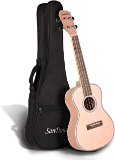SANDONA Concert Ukulele 24 Inch Kit UKCB-MH | Okoume Solid Wood | Complete Concert Set with Strap, Premium Strings, Digital Tuner and Gig bag | Accurate Tuning | Pink Champagne