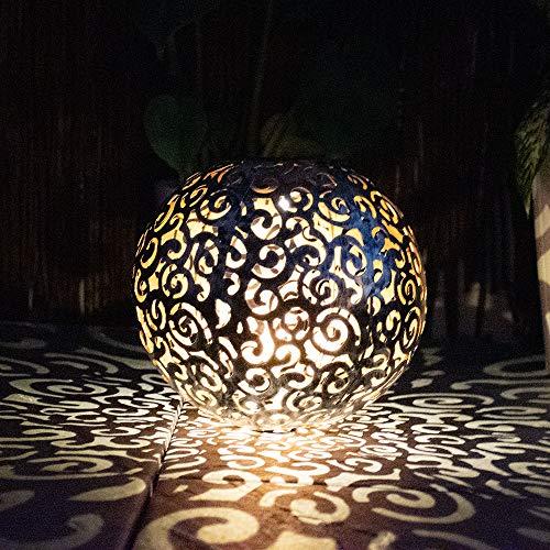 LED Solar Außen Steck Leuchte Garten Deko Beleuchtung silber patina Terrassen Hof Erdspieß Kugel Lampe