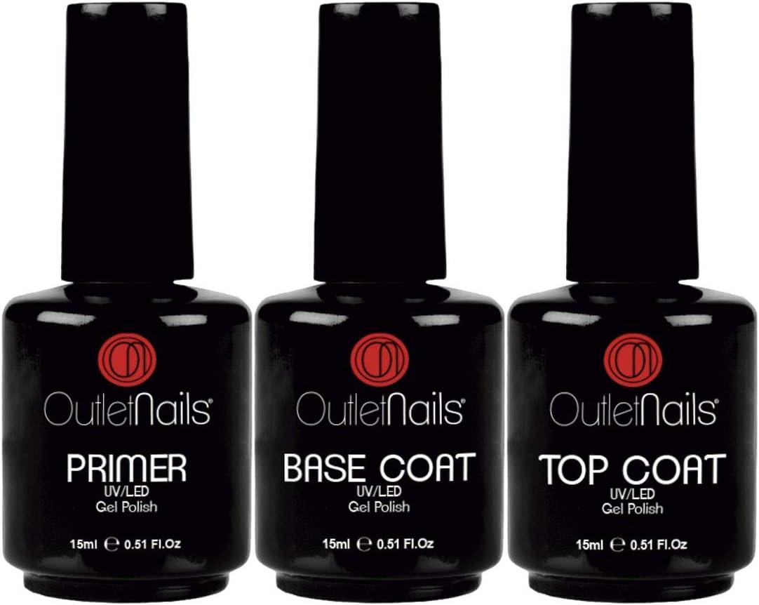 Pack Esmaltes Semipermanentes | Base + Brillo + Primer para Esmalte Semipermanente | Gran Formato 15ml cada uno | Outlet Nails