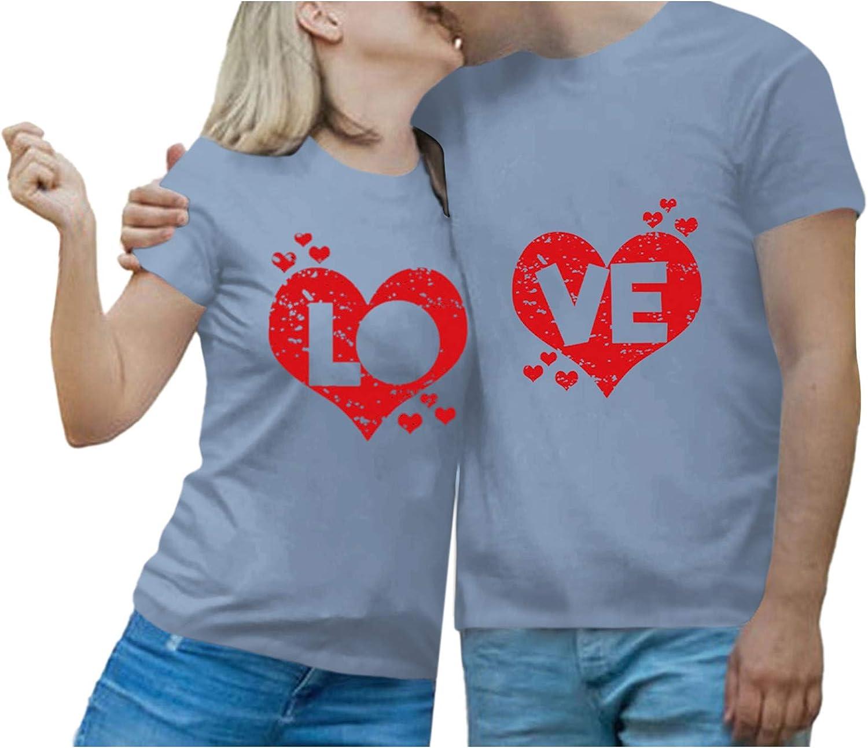 Unisex Couples Lovers T-Shirt Short Letter Love Pr depot Sleeve O-Neck Regular discount
