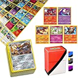 100 Pokemon Cards with 5 Rare Cards and Totem Deck Box