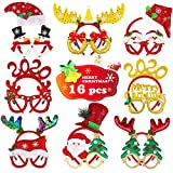 Aitey 16 Pcs Christmas Headbands and Christmas Glittered Glasses Frame for Christmas Holiday Party Favors Decorations Costume Photo Props Gifts for Kids Girls Families