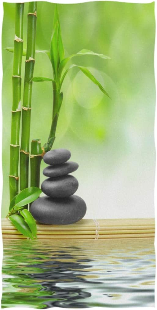 ALAZA Ultra-Cheap Deals Zen Manufacturer OFFicial shop Stone with Bamboo Leaves Cl Ultra Hand Towel Wash Soft