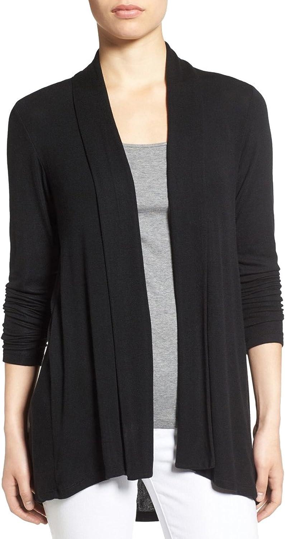 PUXIAN High Low Open Drape Petite Basic Cardigans for Women Outfits No Button Black