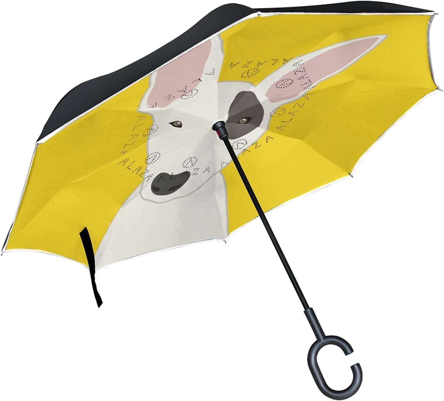 Mydaily Double Layer Ingreened Umbrella Cars Reverse Umbrella Bull Terrier Dog Windproof UV Proof Travel Outdoor Umbrella