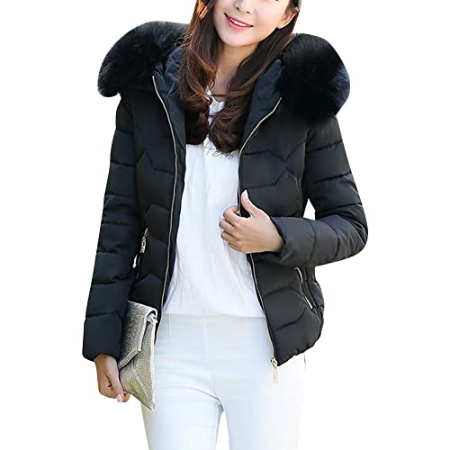 cf180cc9bcaa LaoZan Weatherproof Women's Puffer Quilted Jacket Short Winter Warm Zip Coat  with Faux-Fur Trim